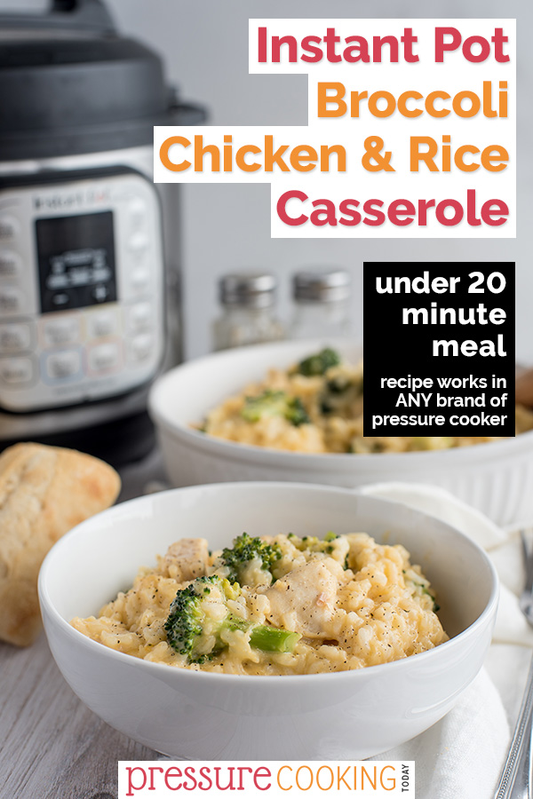 A bowl of Chicken and Broccoli Casserole with pressure cooker in the background