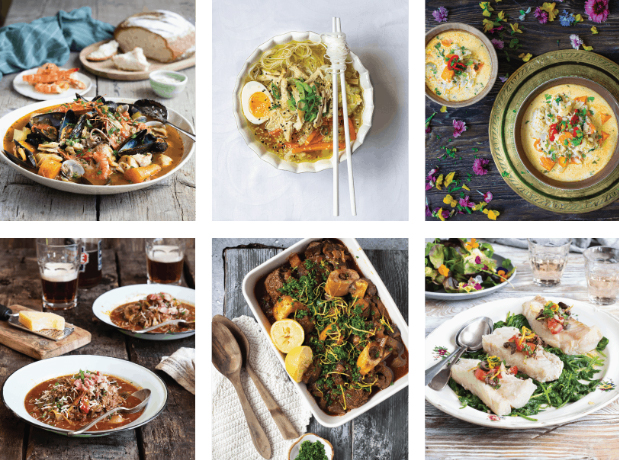 Collage of six different recipes included in No Thaw paleo Cooking Cookbook by Dr Karen Lee, including seafood, paella, soup, and noodles