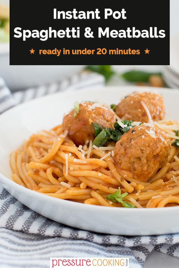 Instant Pot Spaghetti and Meatballs via @PressureCook2da