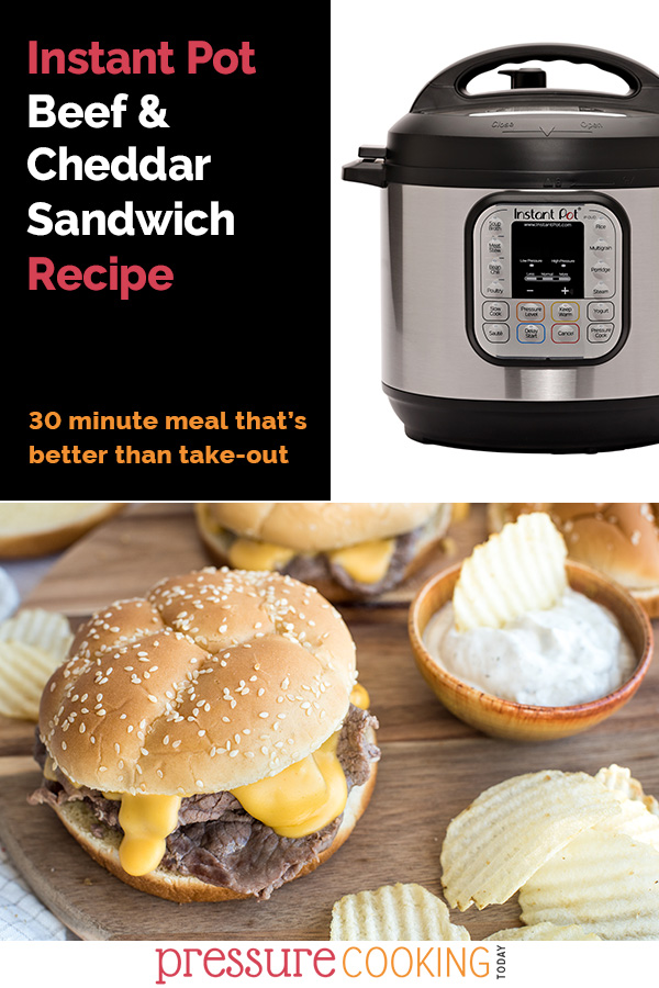 This Beef and Cheddar Sandwich recipe is an instant upgrade to Arby's cheesesteaks! Thin-sliced beef cooks up quick and tender in your Instant Pot, and it's topped with a melty cheddar cheese sauce on an onion roll. via @PressureCook2da