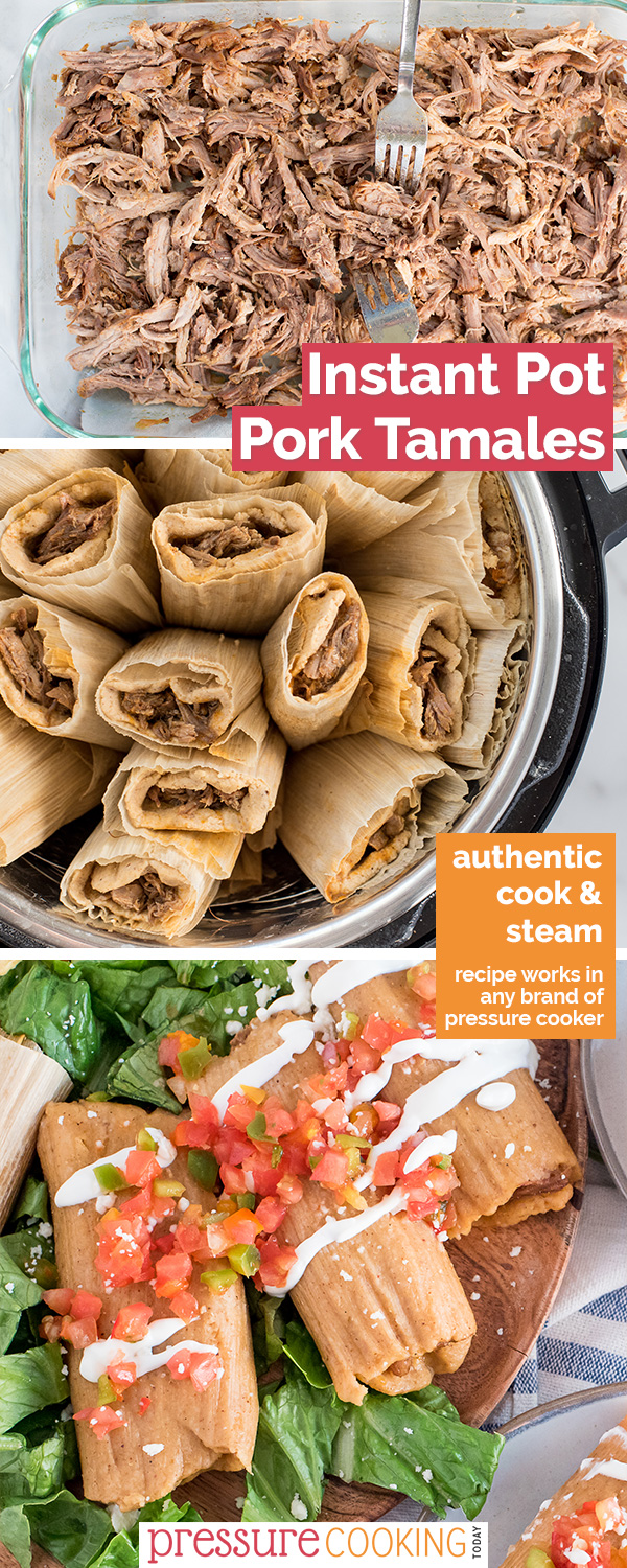 This Pork Tamale recipe tastes AMAZING! Plus, steaming your tamales in the Instant Pot doesn't heat up your house! via @PressureCook2da