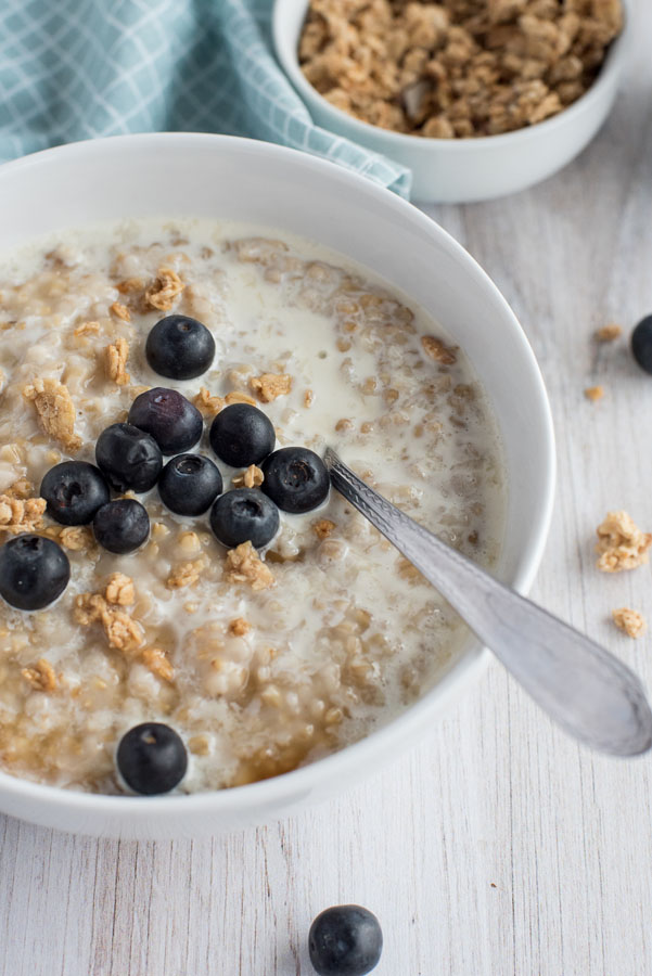 white cereal owl filled with pressure cooker steel cut oats with blueberries