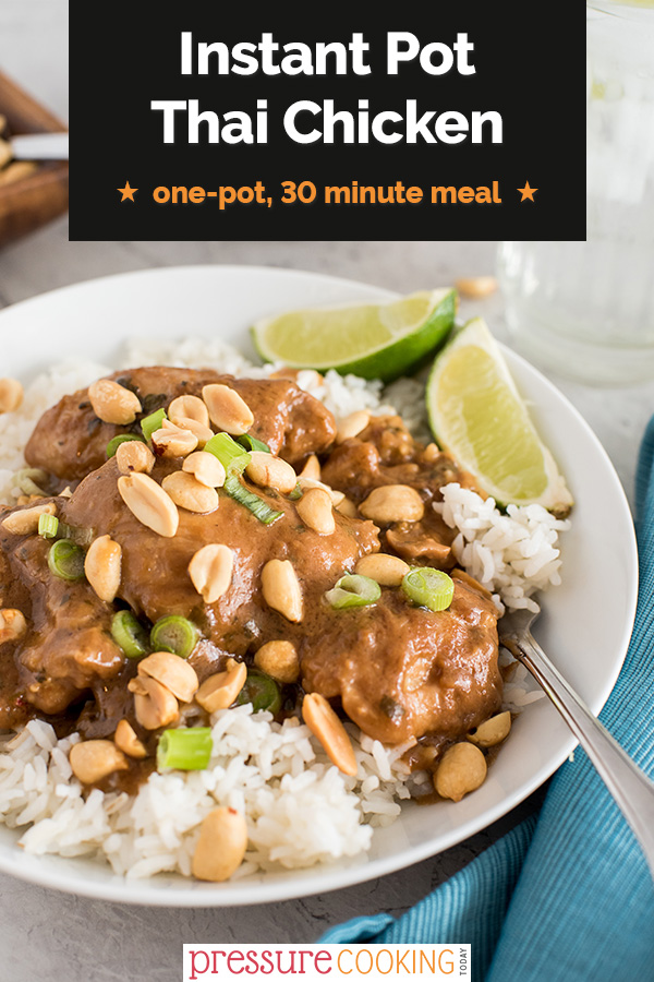 Try this one-pot, 30-minute dinner of tender chicken in a tasty peanut sauce flavored with cilantro and lime. via @PressureCook2da