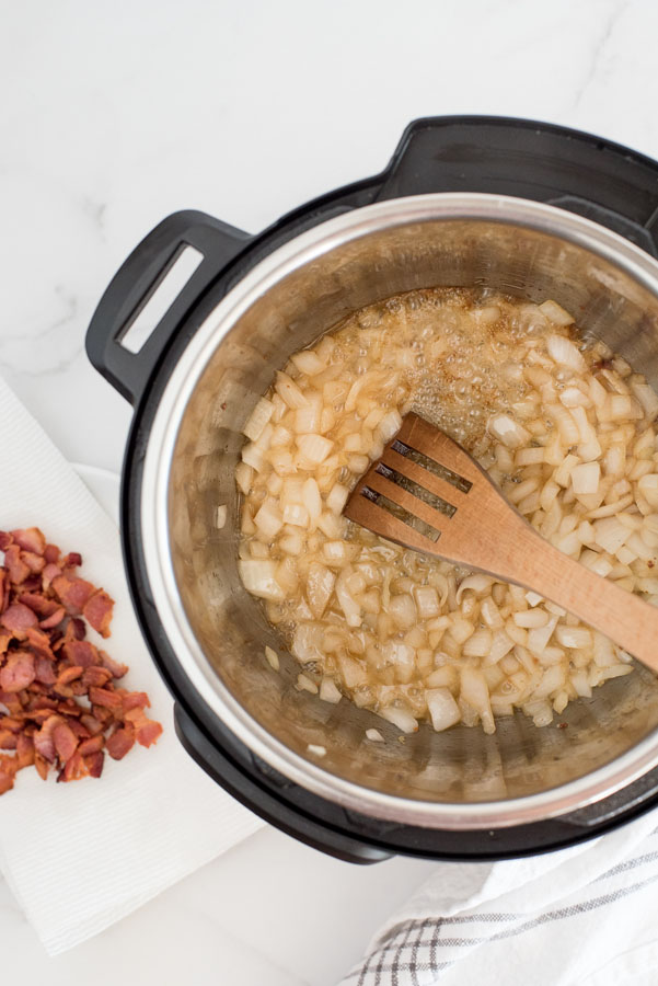 sauteing onions in an Instant pot to make pressure cooker baked beans