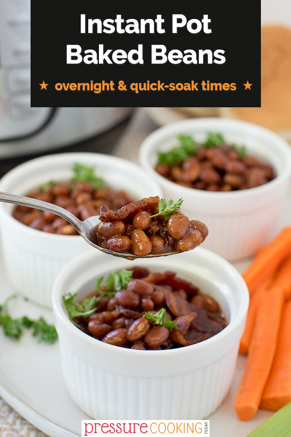 The BEST way to make Instant Pot Baked Beans. Directions for overnight soak, quick-soak, or no-soak beans. Never make your beans any other way! via @PressureCook2da