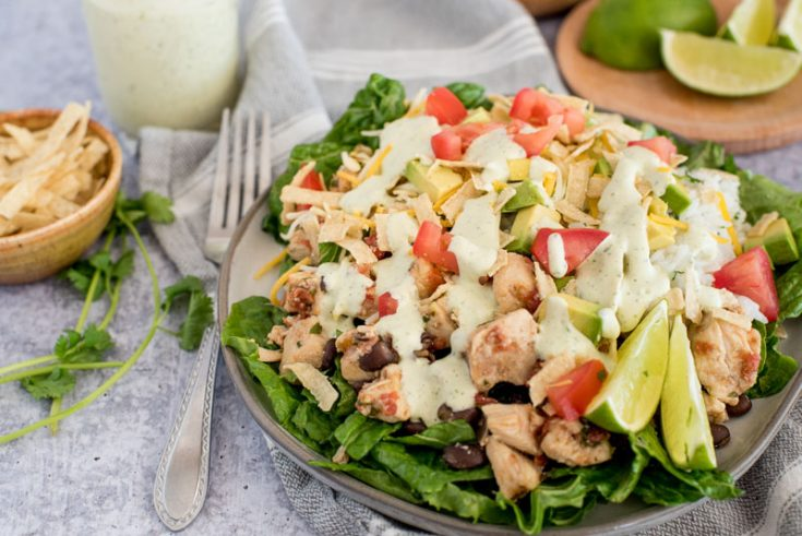 a 45degree shot of chicken taco salad with cilantro lime dressing, diced tomatoes, lime wedges, on a bed of lettuce with tortilla strips, additional dressing, and more lime garnishes on the side