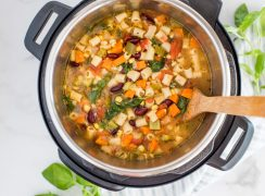 Close up overhead shot of minestrone soup cooked in an Instant Pot.