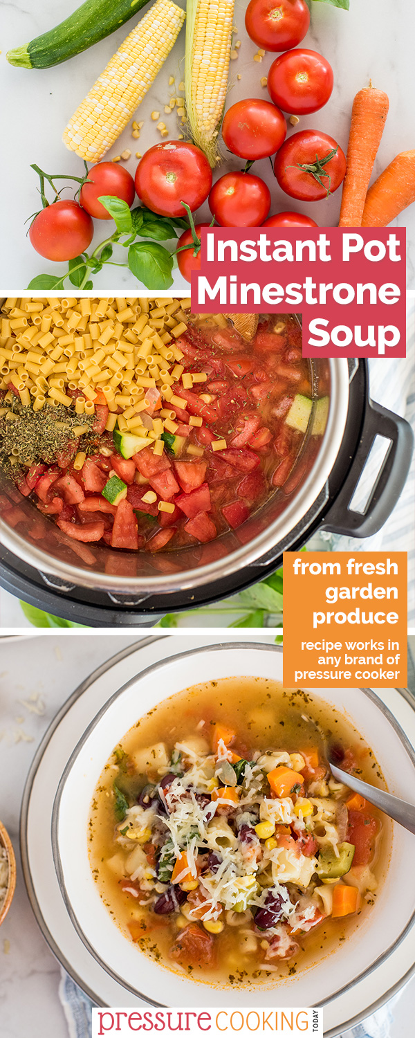 If you can get your hands on fresh tomatoes, you HAVE to try this easy Instant Pot minestrone soup recipe featuring fresh garden produce like tomatoes, zucchini, corn, and onions, plus beans and pasta. Plus instructions to freeze. #pressurecookingtoday via @PressureCook2da