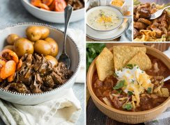 A picture collage of fall Instant Pot recipes including pot roast with potatoes and carrots, broccoli cheese soup, beef stroganoff, and a bowl of beef and bean chili topped with tortilla chips, sour cream, and shredded cheese.