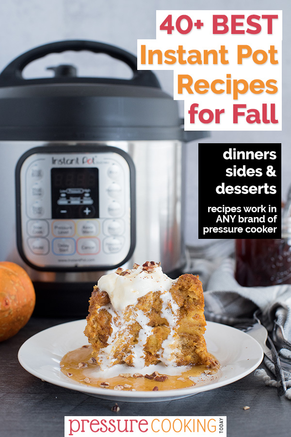 Pumpkin baked french toast plated with whipped cream in front of an Instant Pot.