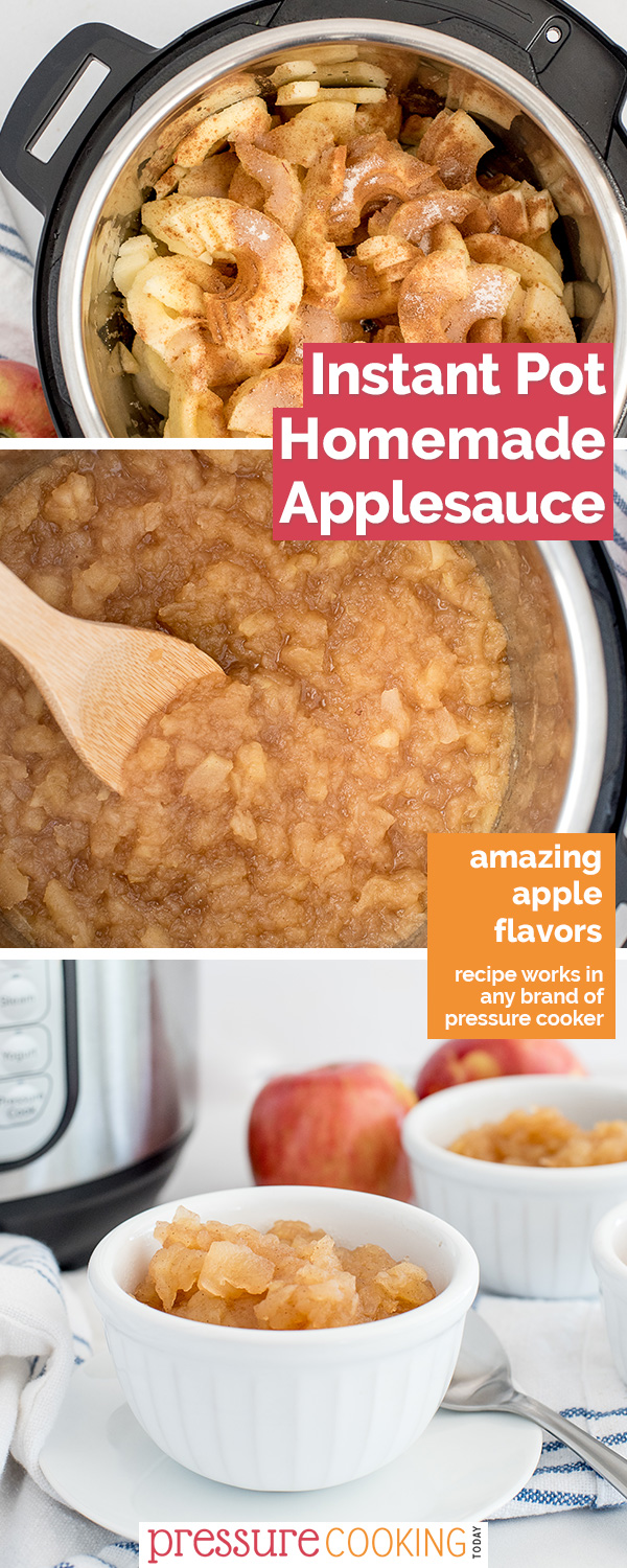 Whether you like applesauce chunky or smooth, plain or cinnamon, you make it perfect in with this easy to make Instant Pot recipe. via @PressureCook2da