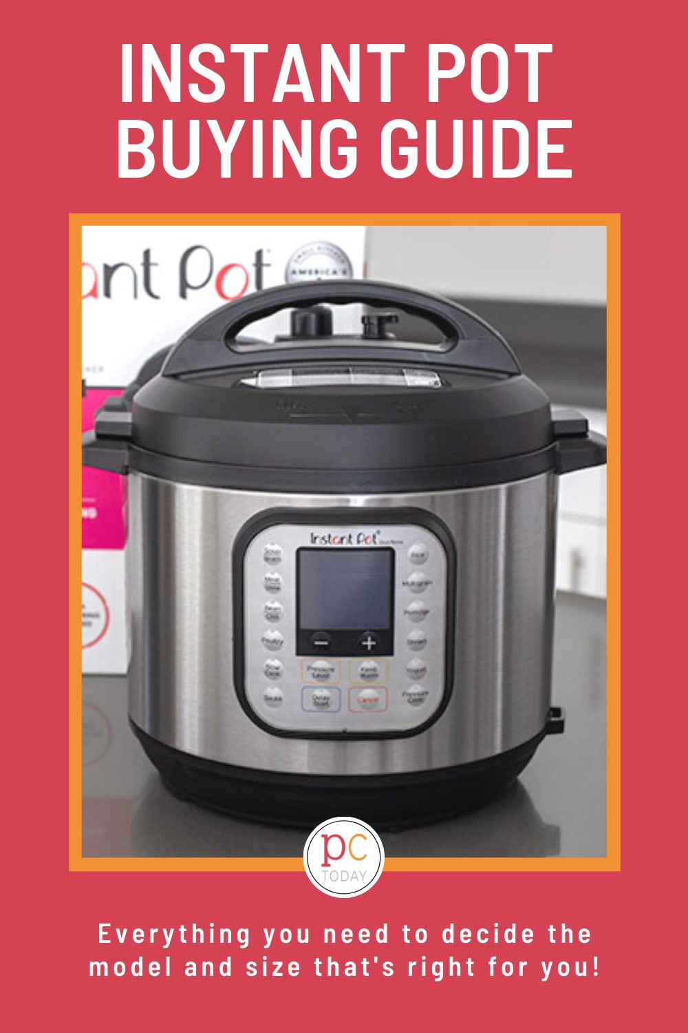 pinterest image on a pink background promoting our Instant Pot buying guide, featuring a duo nova on a gray countertop via @PressureCook2da
