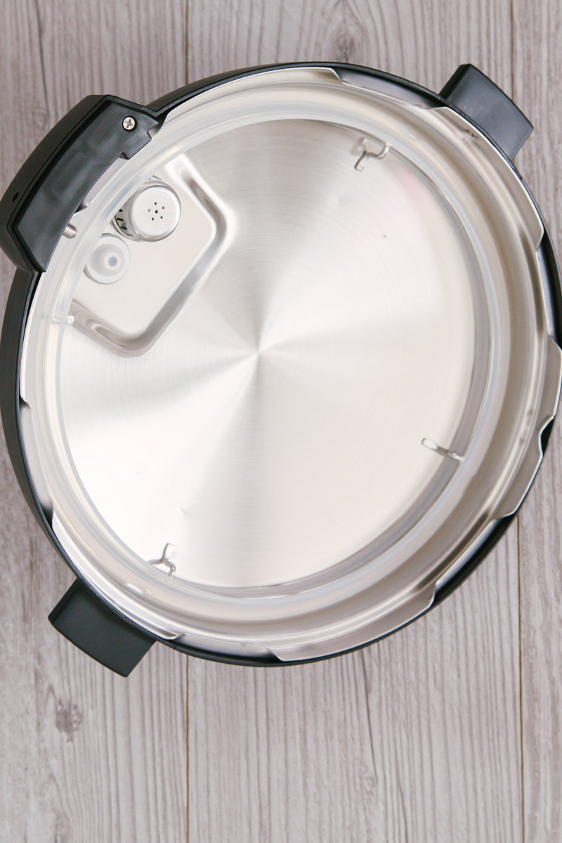 overhead shot of the underside of the lid on the Instant Pot Duo Gourmet