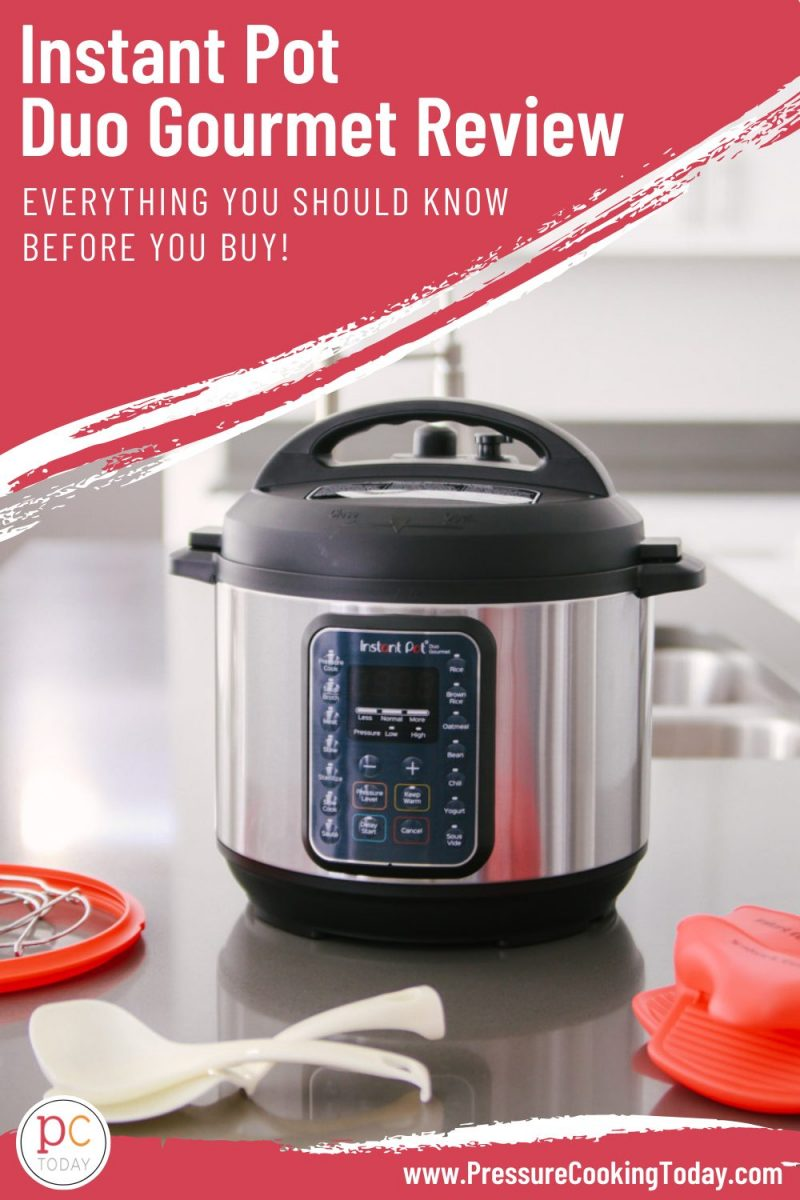 "Pinterest image with a pink box overlaid on an image of the INstant Pot Gourmet, with white text that reads ""Instant Pot Duo Gourmet Review: What you need to know before buying"""