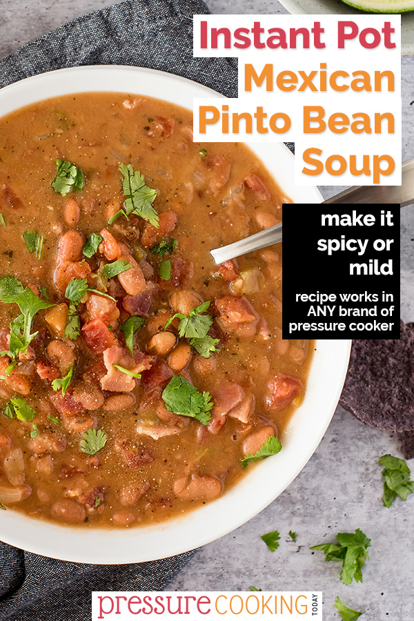 Mexican Pinto Bean Soup | Recipe works in the Instant Pot, Ninja Foodi, and any other brand of electric pressure cooker. aka Charro Bean Soup, it packs just the right amount of heat and is full of healthy protein in a rich and flavor-packed tomato-beer broth. via @PressureCook2da
