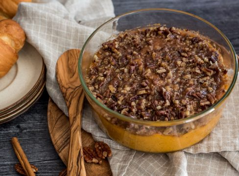 glass container with instant pot sweet potato casserole