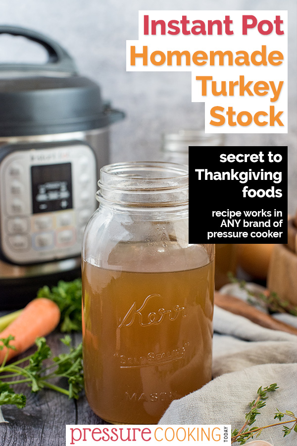 Instant Pot Turkey Stock will take your Thanksgiving dressings, stuffings, and gravy to the next level. It is a must-try, and SO EASY to make in your Instant Pot. #PressureCookingToday via @PressureCook2da