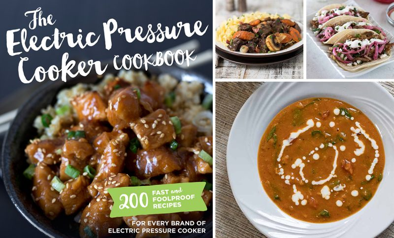 Four image collage, featuring the cover of the Electric Pressure Cooker Cookbook, a plated photo of Beef Bourgingon, Pork Carnitas, and Creamy Red Lentil Soup