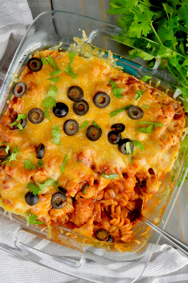 overhead shot of Instant Pot Chicken Enchilada Pasta from Wine and Glue's review of the Electric Pressure Cooker Cookbook - featuring an overhead shot of rotini pasta and bite-sized chicken coated in red enchilada sauce, topped with melted cheese, and garnished with black olives and cilantro