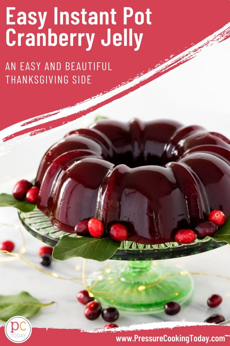 pinterest button for easy instant pot cranberry jelly in a bundt pan