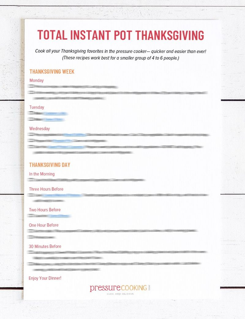 Sample page of the Total Instant Pot Thanksgiving Meal Planner, that provides one of the five pages in the free downloadable guide