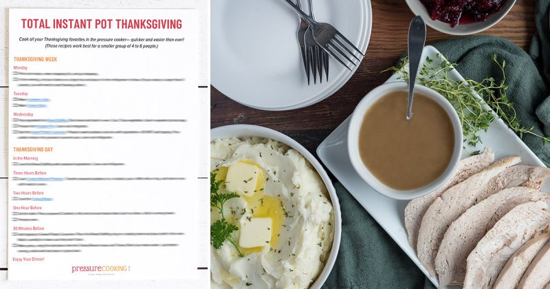 Image promoting the Thanksgiving Meal Planner Guides, featuring a one-page preview of the guide on the left and a picture of a Thanksgiving dinner with mashed potatoes, turkey, gravy, and cranberries on the right