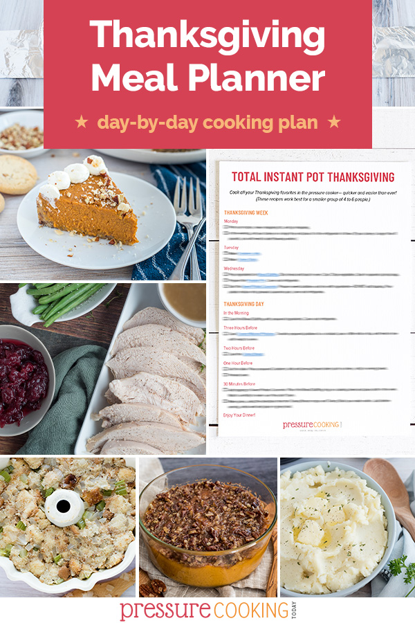 ✨FREE DOWNLOAD!!✨ Use this Thanksgiving Meal Planner to take the stress out of when to start different recipes! Includes a day-by-day breakdown for what to prep early to make your Thanksgiving much easier, and how to time things on the big day. Make a small dinner for 4 to 6 people all in your Instant Pot or make a larger meal using both your pressure cooker and your oven. #PressureCookingToday via @PressureCook2da