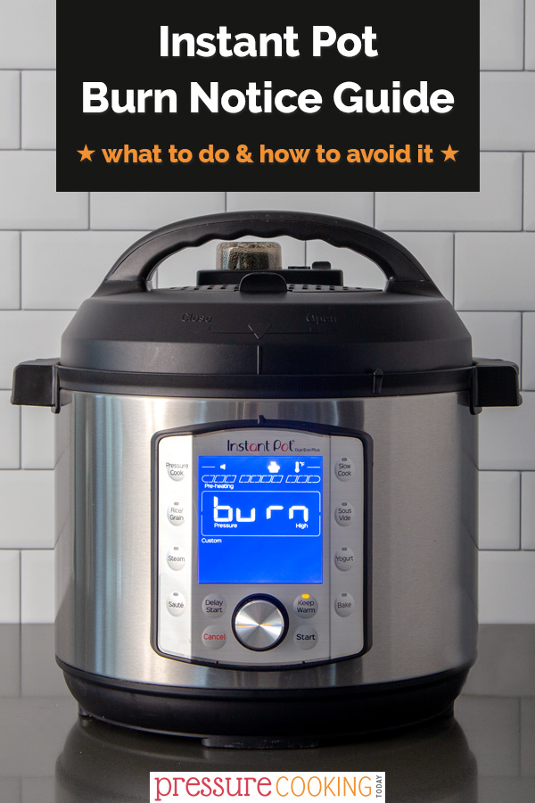 Got the burn notice? DON'T PANIC!!! You can save your meal! Learn what to do when you see the Instant Pot burn notice to save your dinner and enjoy a burn-free meal. Plus, learn how to avoid the Instant Pot burn message in the future. via @PressureCook2da
