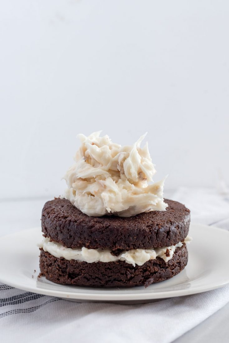 frosting a two layer chocolate cake on a white plate