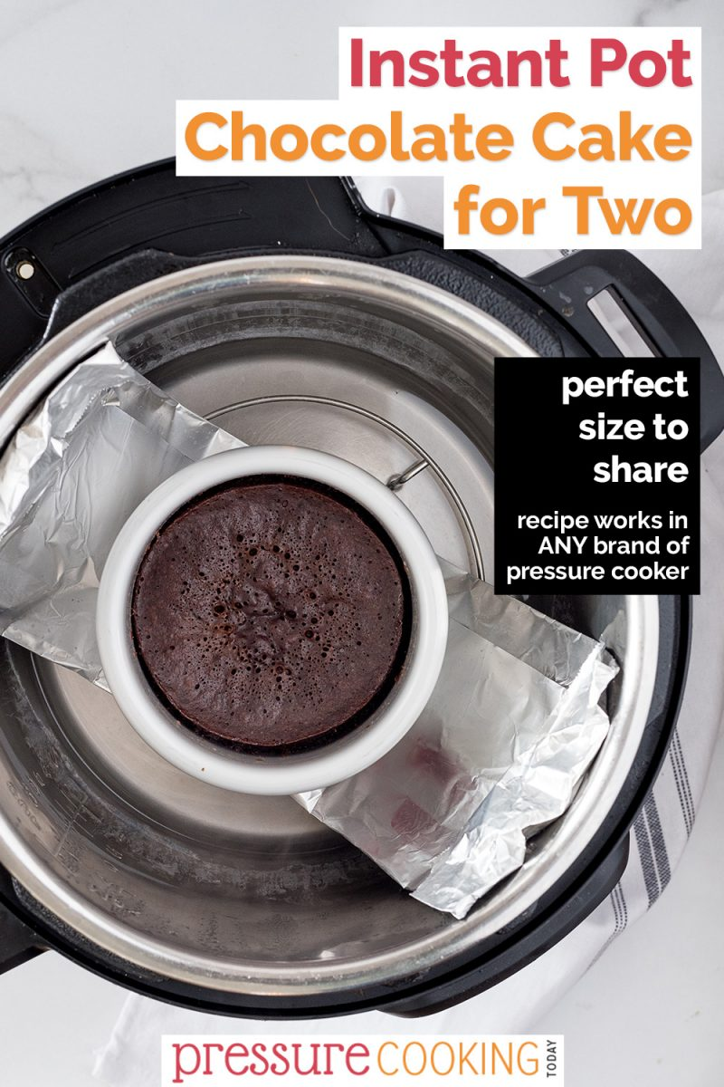 pinterest button for chocoalte cake for two in the pressure cooker