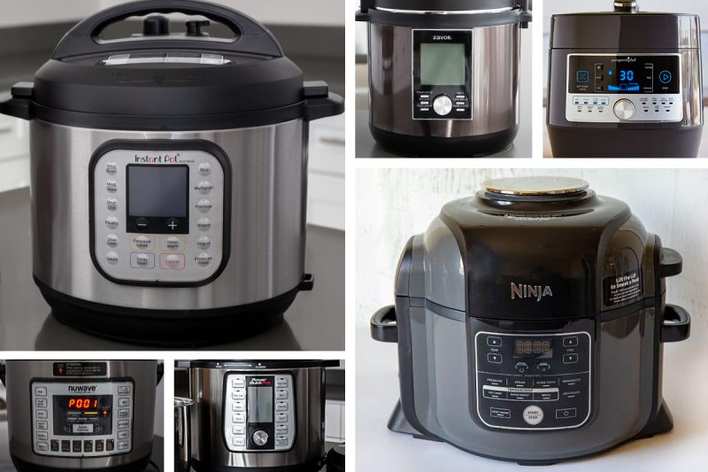 A collage of six different models of electric pressure cooker, including large images of the Instant Pot Duo Nova and the Ninja Foodi, and small images of the NuWave, the Power Quick Pot, the Zavor, and the Pampered Chef Quick Cooker.