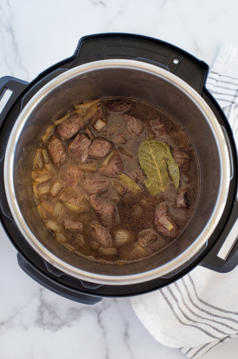 finished swedish kalops inside an Instant pot electric pressure cooker