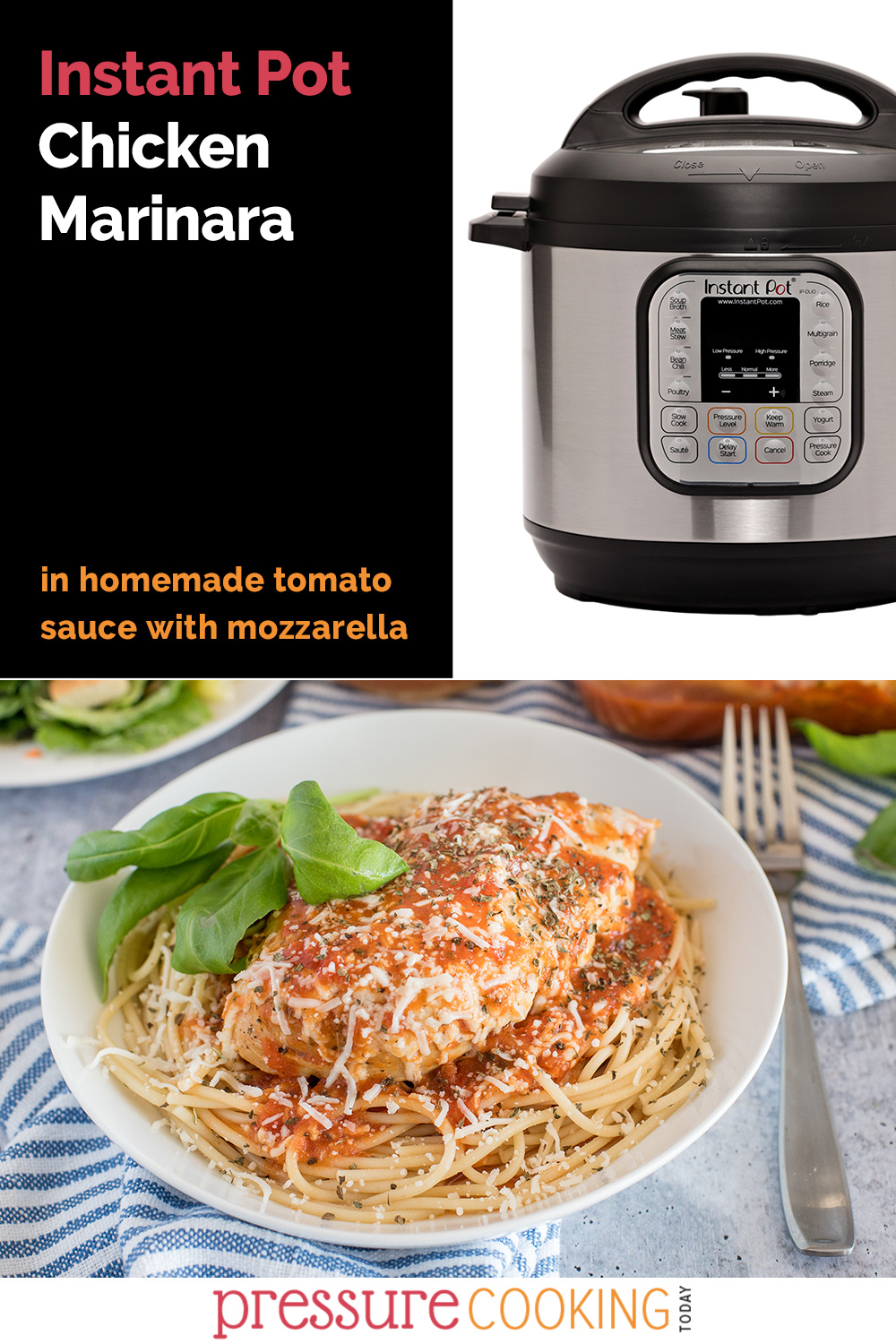 Homemade tomato sauce + melty mozzarella + quick chicken dinner = THIS WEEK'S DINNER! Instructions to melt cheese with an air fryer lid or in the oven. via @PressureCook2da