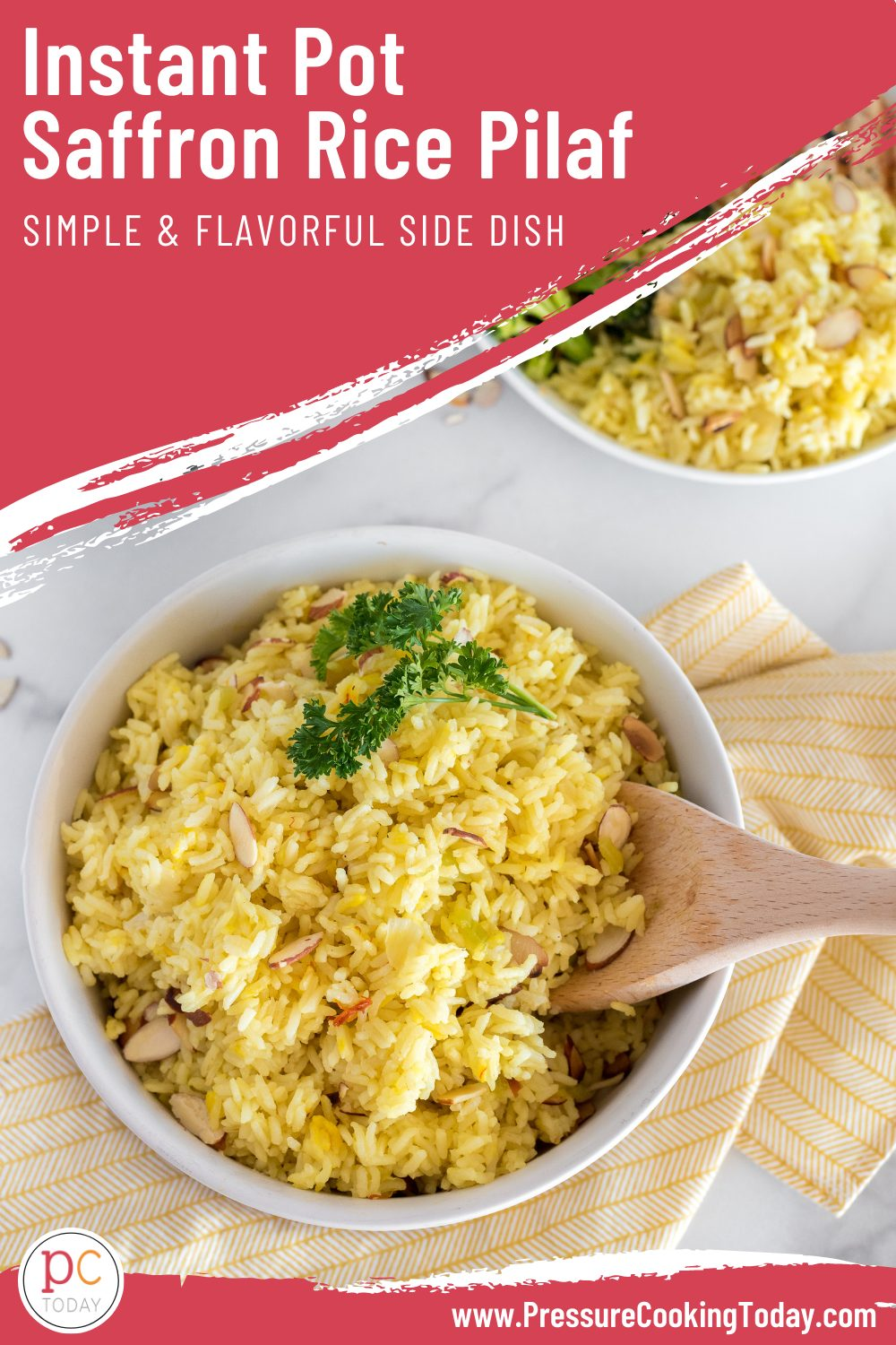 Instant Pot Rice Pilaf, made with a beautiful saffron broth, toasted almonds, and long grain white, is the perfect quick and easy side dish. We love to serve it with a simple grilled protein. #PressureCookingToday via @PressureCook2da