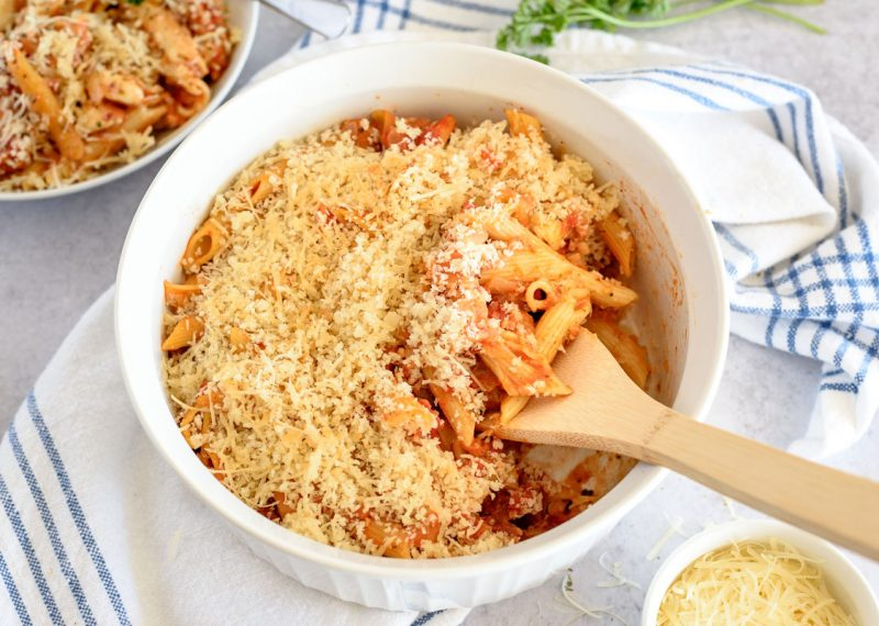 Instant Pot eggplant parmigiana in a ramekin topped with panko bread crumbs and ready to serve