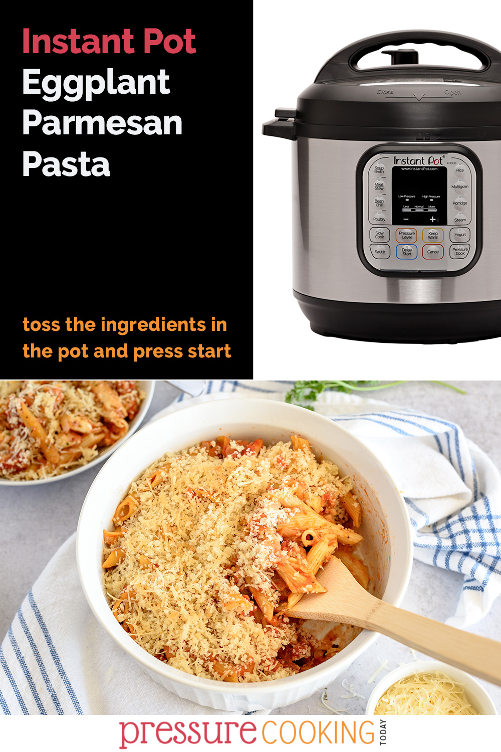 EASY Dump and Go Instant Pot Recipe | Instant Pot Eggplant Parmesan Pasta via @PressureCook2da