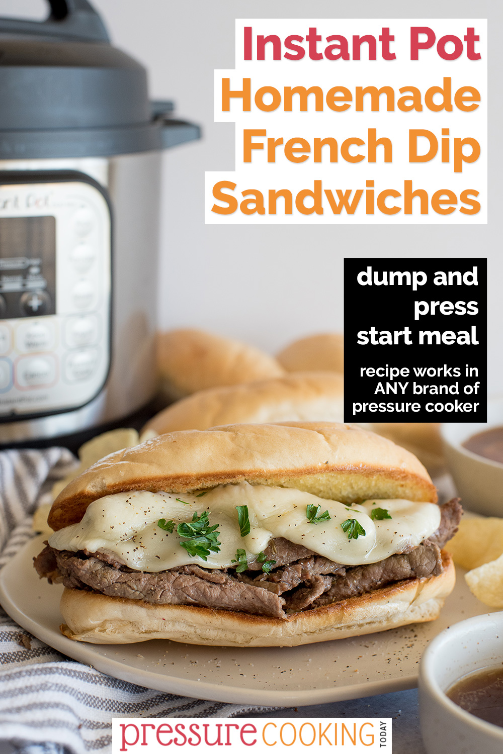 Easy French Dip Sandwiches that you can make in your Instant Pot. Makes a great rosemary garlic au jus dipping sauce and it starts with a mix to make life a little easier. via @PressureCook2da