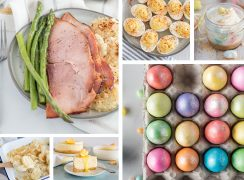 A six-image collage of recipes you can make in your Instant Pot this Easter, featuring a large photo of sliced spiral ham and asparagus and a large photo of dyed Easter eggs in several shimmering colors. Smaller photos appear underneath the ham featuring a wooden spoon holding potatoes au gratin and a white plate with a serving of Lemon Cheesecake. Above the Easter eggs are two smaller photos of Zesty Deviled Eggs and a mini mason jar with mini Easter Cheesecakes with malted-milk Robin Eggs sprinkled above and beneath.