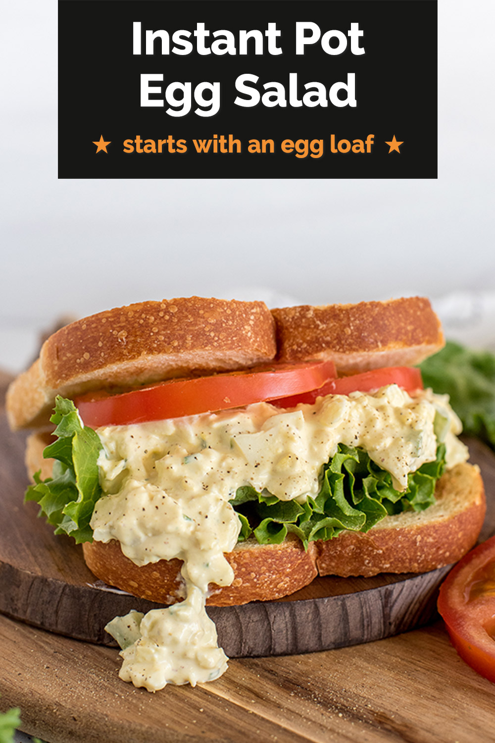 NO-PEEL EGG SALAD SANDWICHES! | Use the egg loaf trick in your pressure cooker to make delicious, traditional Egg Salad Sandwiches. via @PressureCook2da