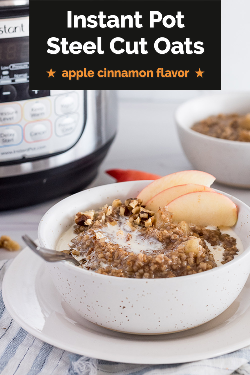 Instant Pot Apple Cinnamon Steel Cut Oats via @PressureCook2da