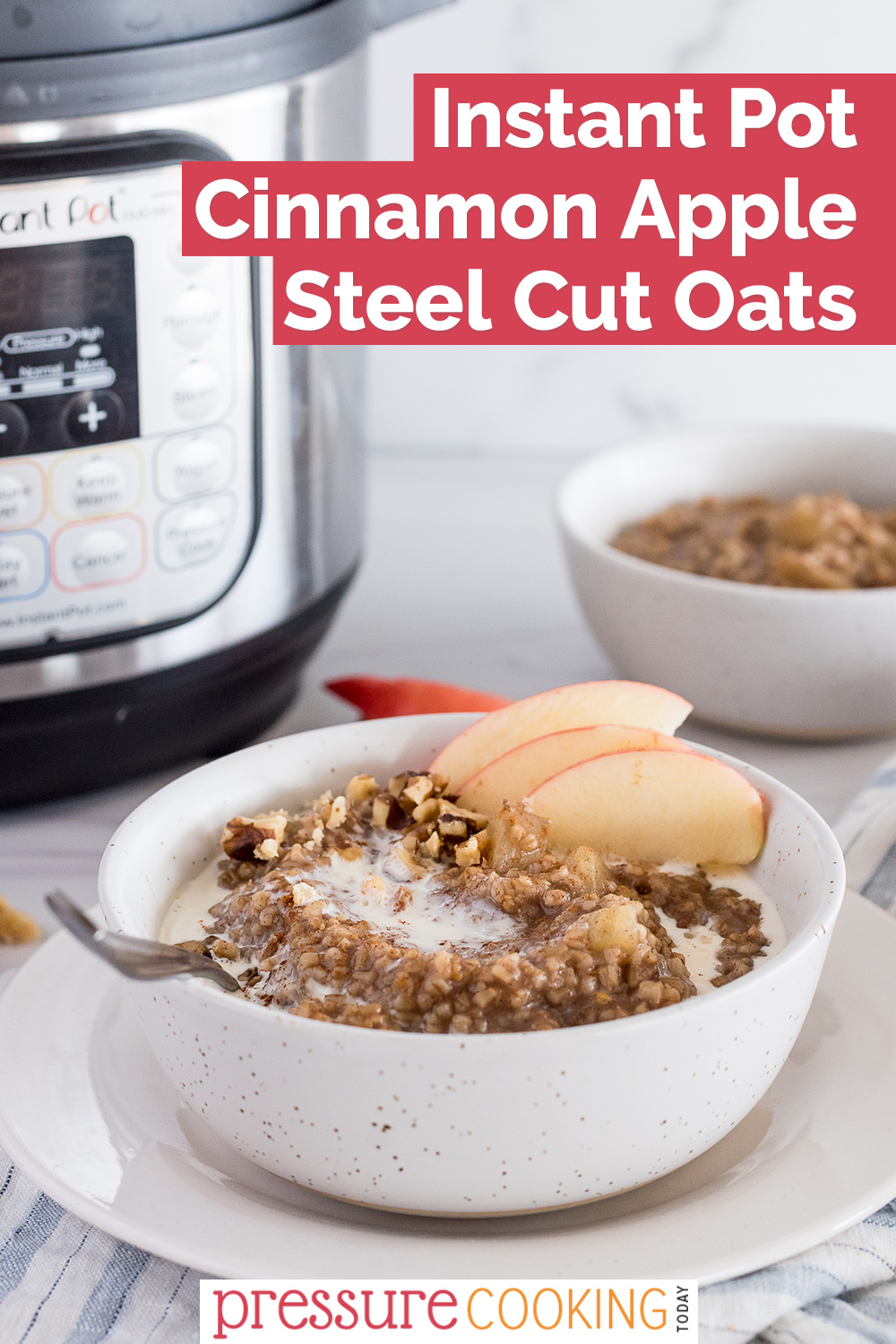 pinterest button for instant pot steel cut oats with apples and cinnamon via @PressureCook2da