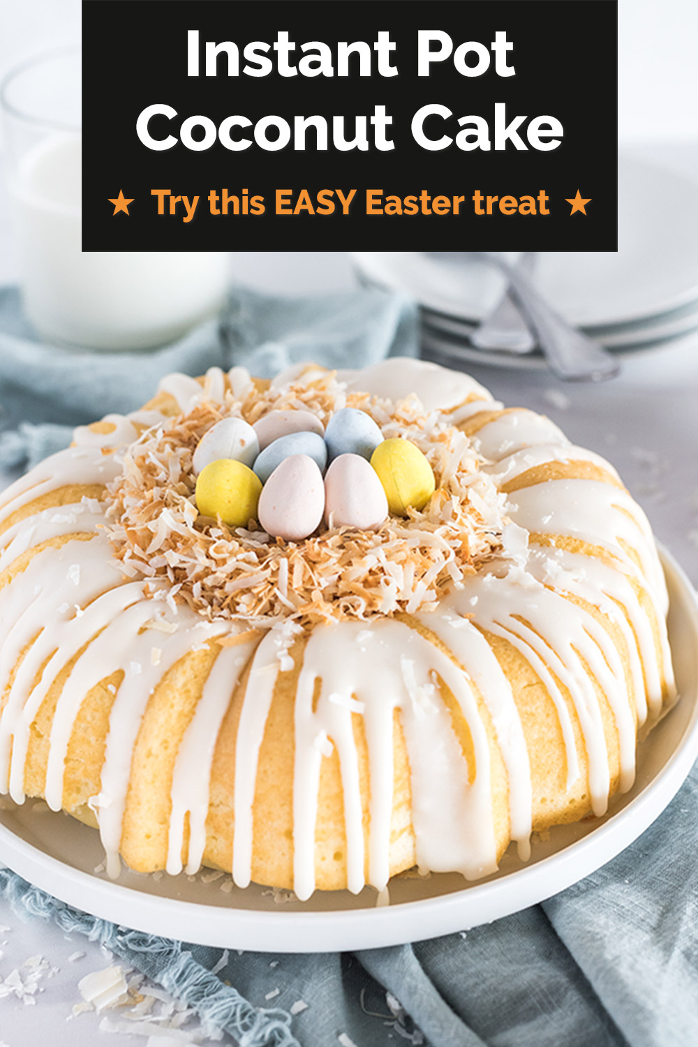 """This EASY Easter dessert is a perfect addition to your family's Easter table this year. Use coconut to make a fun """"nest"""" for your cadbury mini eggs. Plus, this shortcut Instant Pot recipe """"bakes"""" up quick in your Instant Pot, so your oven is free for other parts of your Easter dinner. via @PressureCook2da"""