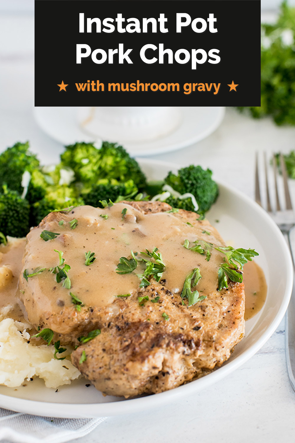 These Instant Pot Pork Chops with creamy mushroom gravy are made with cream of mushroom soup and pair perfectly with mashed potatoes or with rice. Start with a can of cream of mushroom soup to make life easier on busy nights! via @PressureCook2da