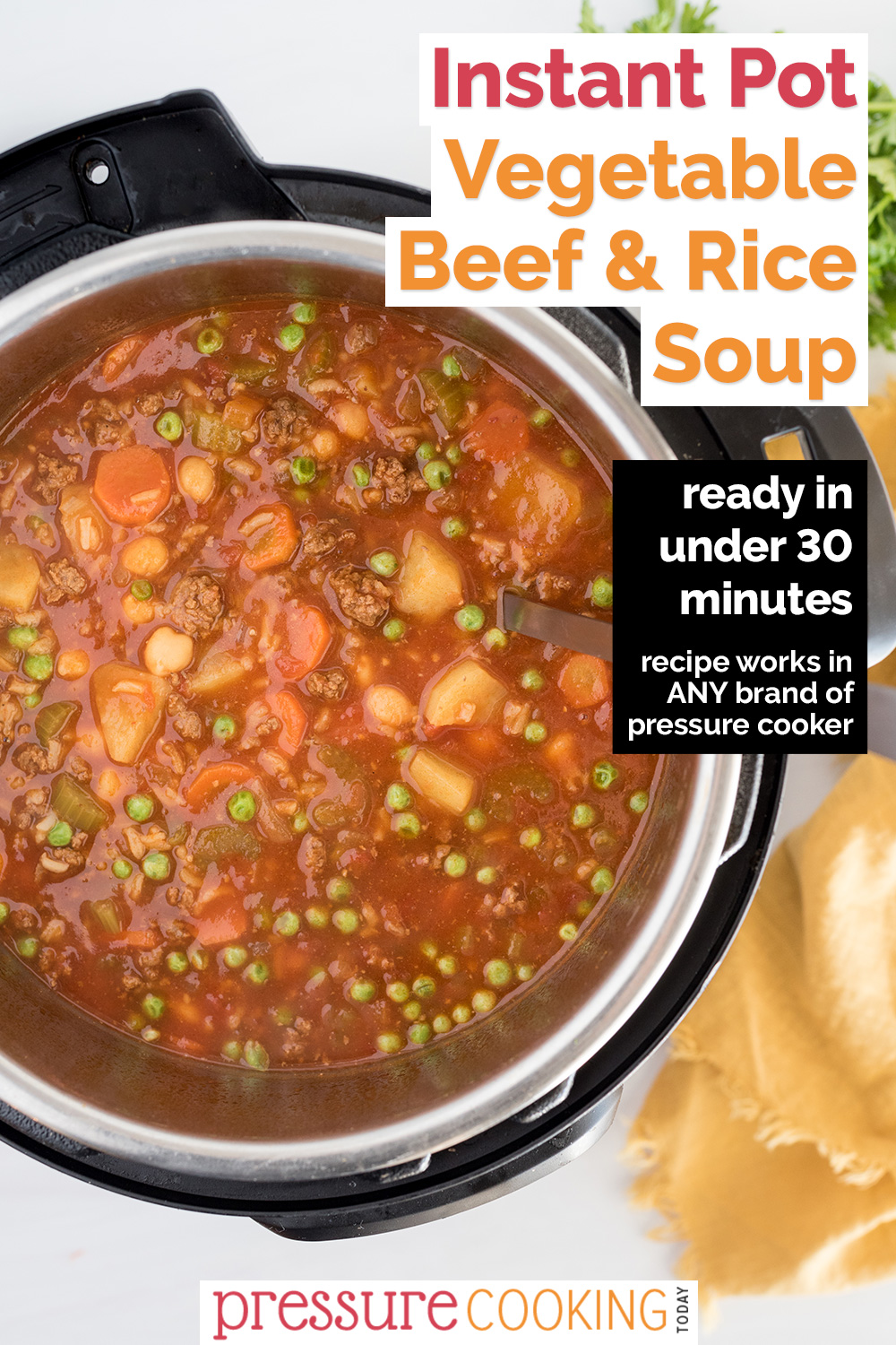 Instant Pot vegetable beef and rice soup cooked and ready to serve from an instant Pot. via @PressureCook2da