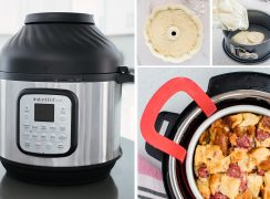 Mother's Day Gift Guide collage, featuring an Instant Pot Duo Crisp, a bundt pan, a spring form pan, and an Oxo sling and cake pan