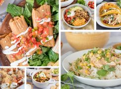 a collage of six Tex-Mex and mexican foods to cook in the Instant Pot and serve for Cinco de Mayo or Taco Tuesday