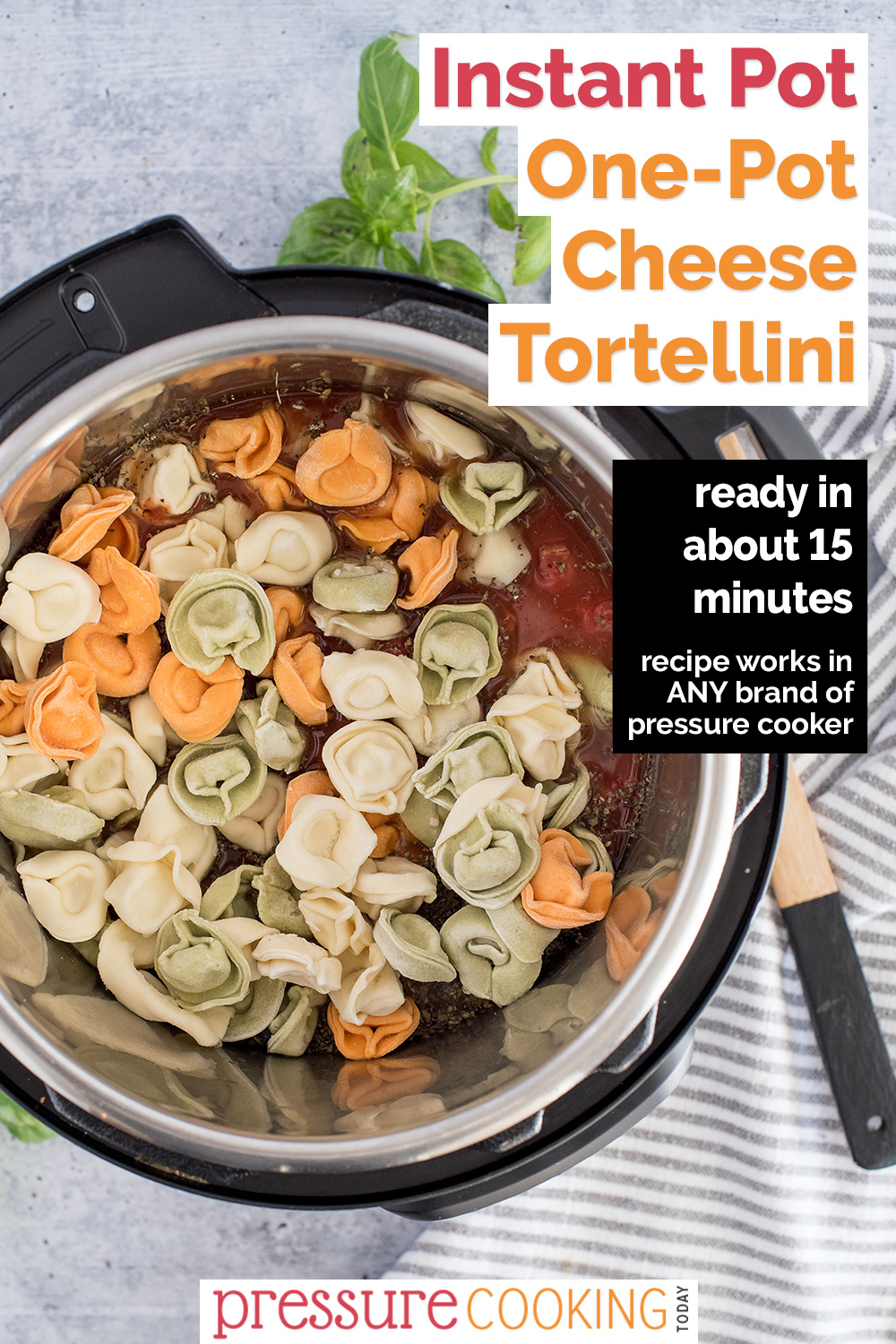 This Instant Pot Tortellini is a one-pot recipe that cooks pasta and sauce at the same time in the same pot. It goes from frozen to finished in about 15 minutes. Plus it starts from frozen pasta, so it's great on busy nights! via @PressureCook2da
