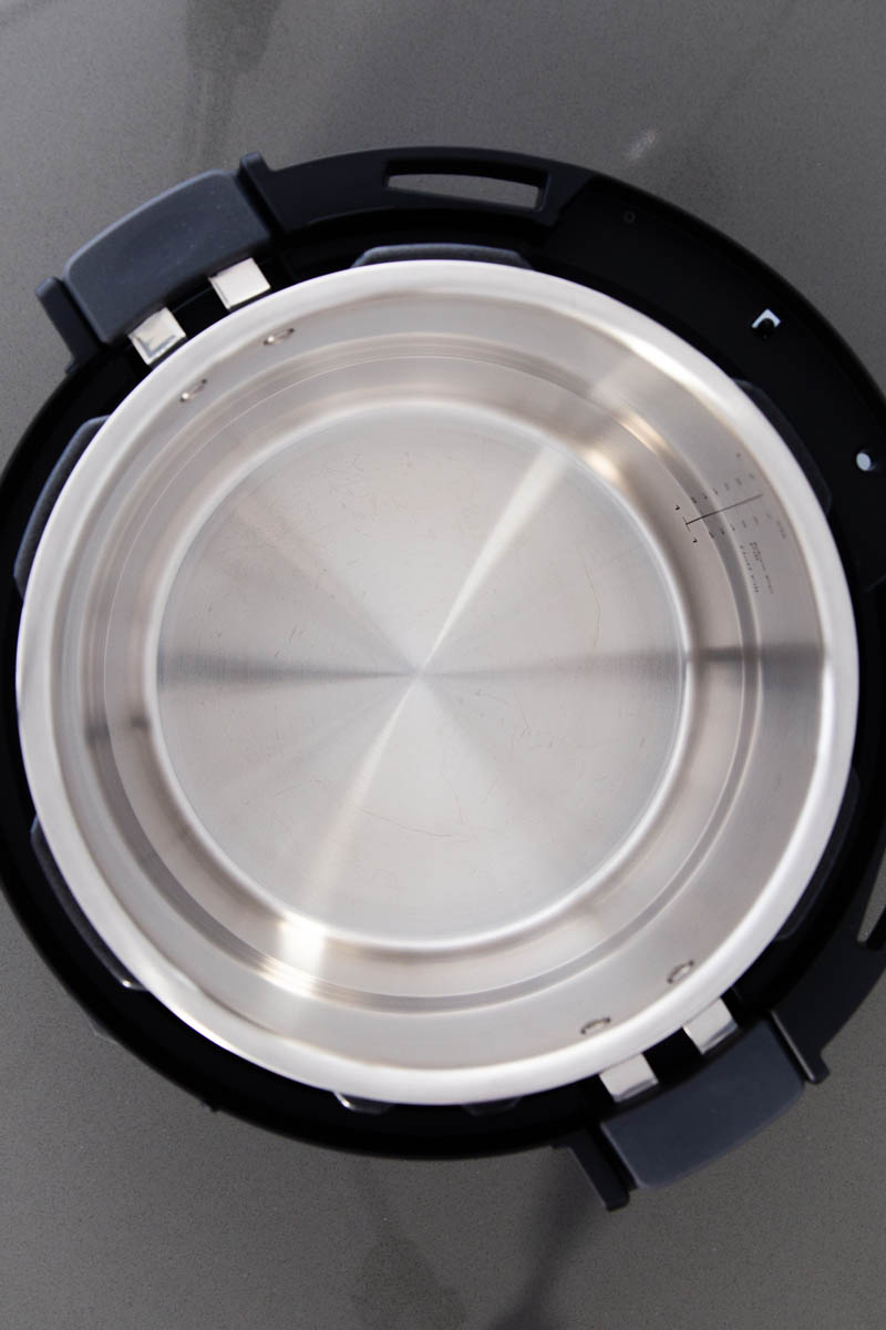 A top-down view into the Instant Pot Pro cooking pot.