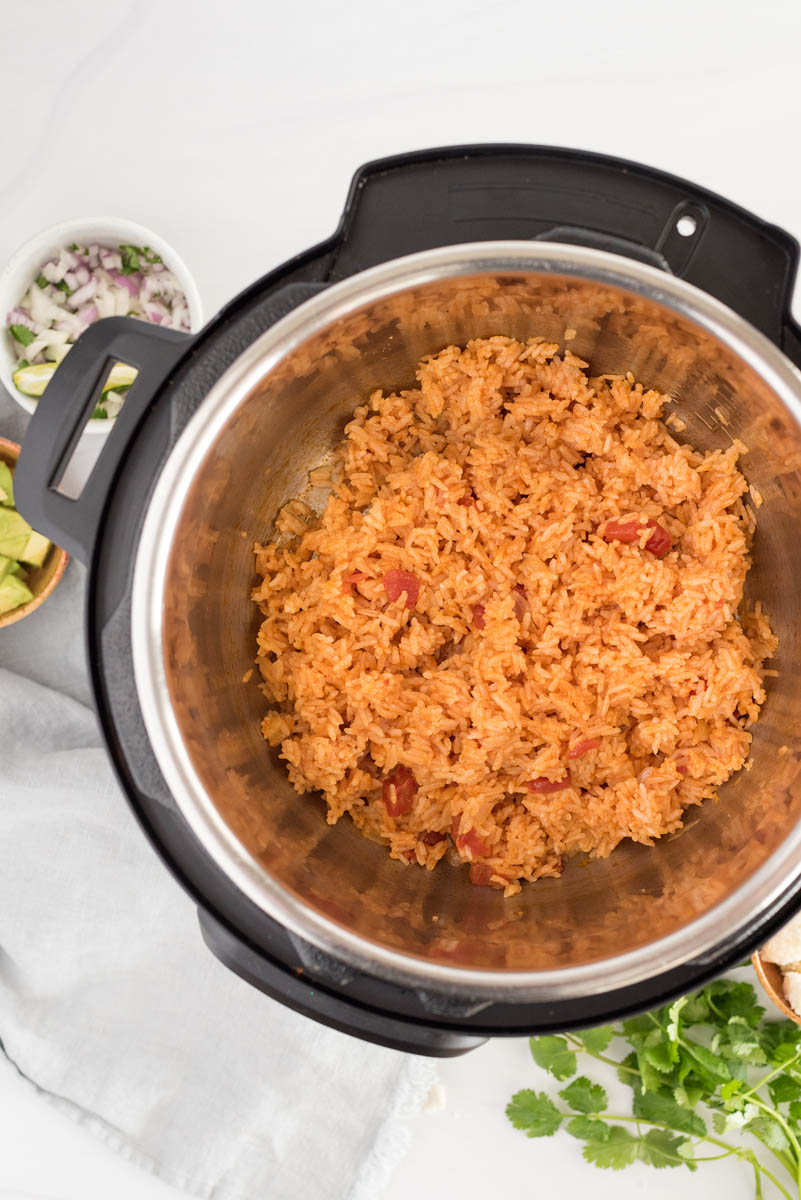 overhead of an instant pot with spanish rice
