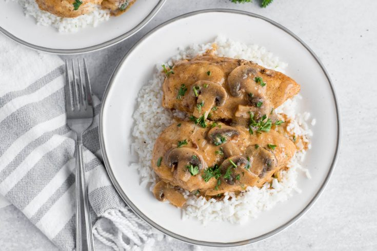 overhead of a white plate with mushrooms sauce